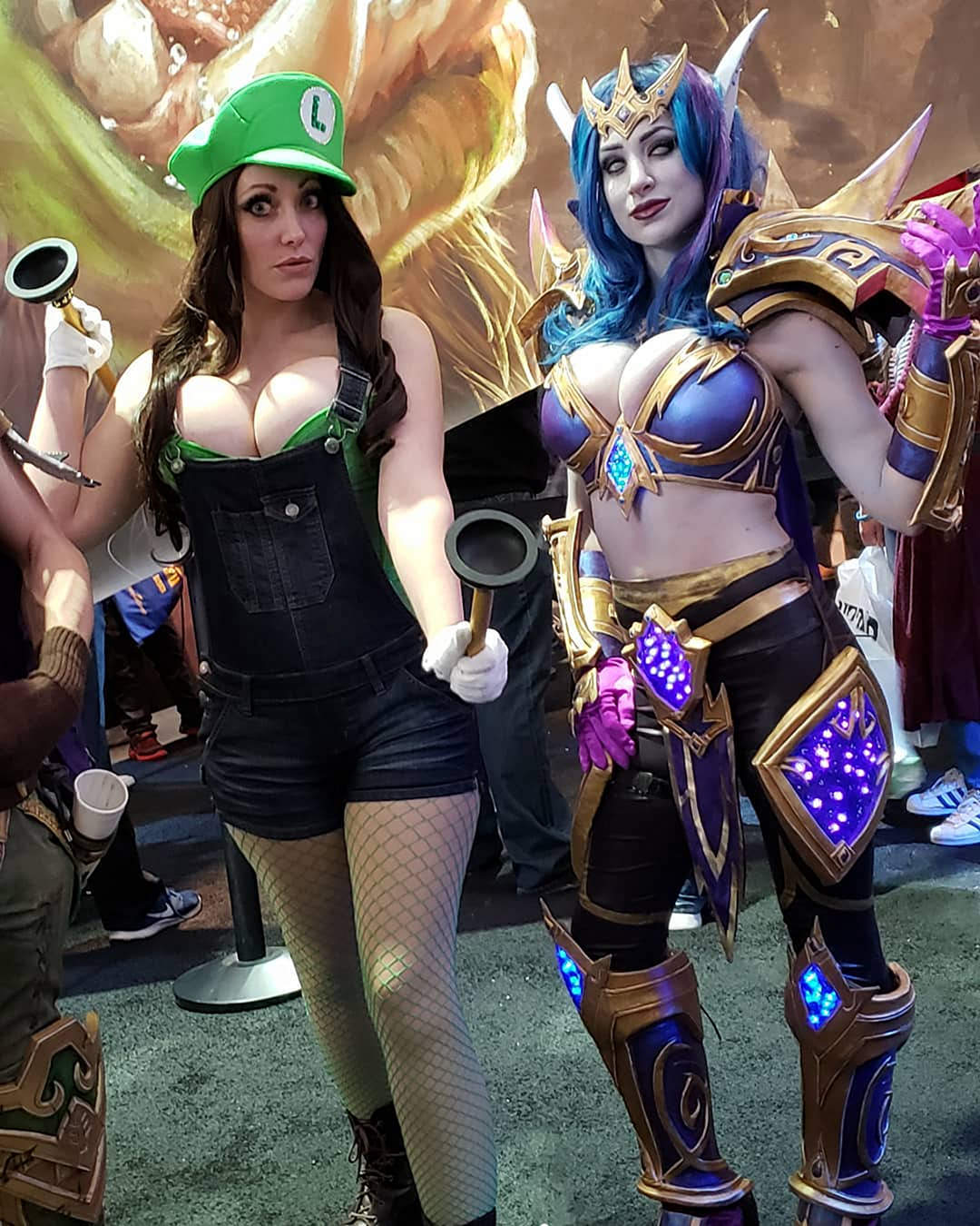 Alina Masquerade As Luigi And Azura Cosplay As A Void Elf
