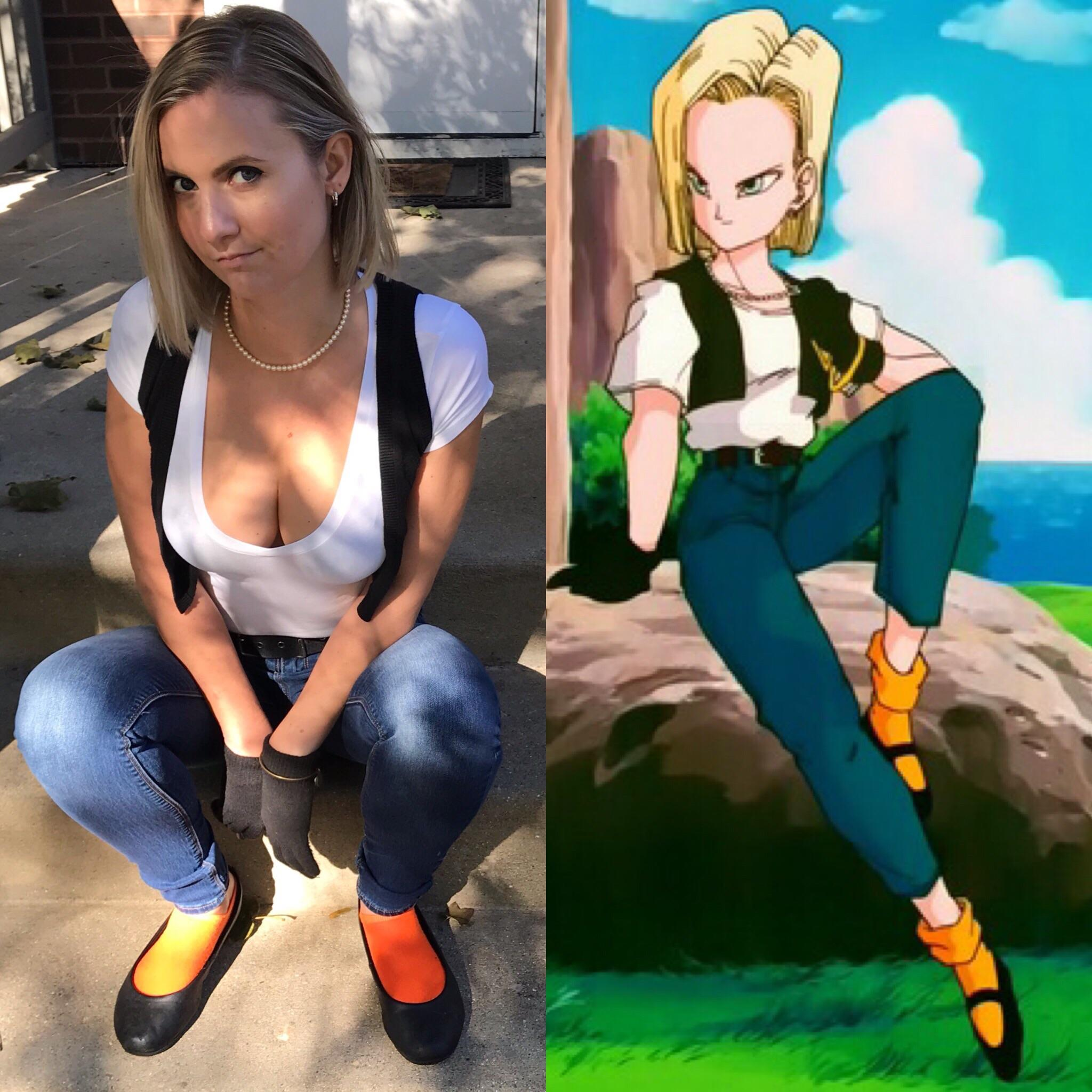 Android 18 Cosplayer Vs Character Paige Parker