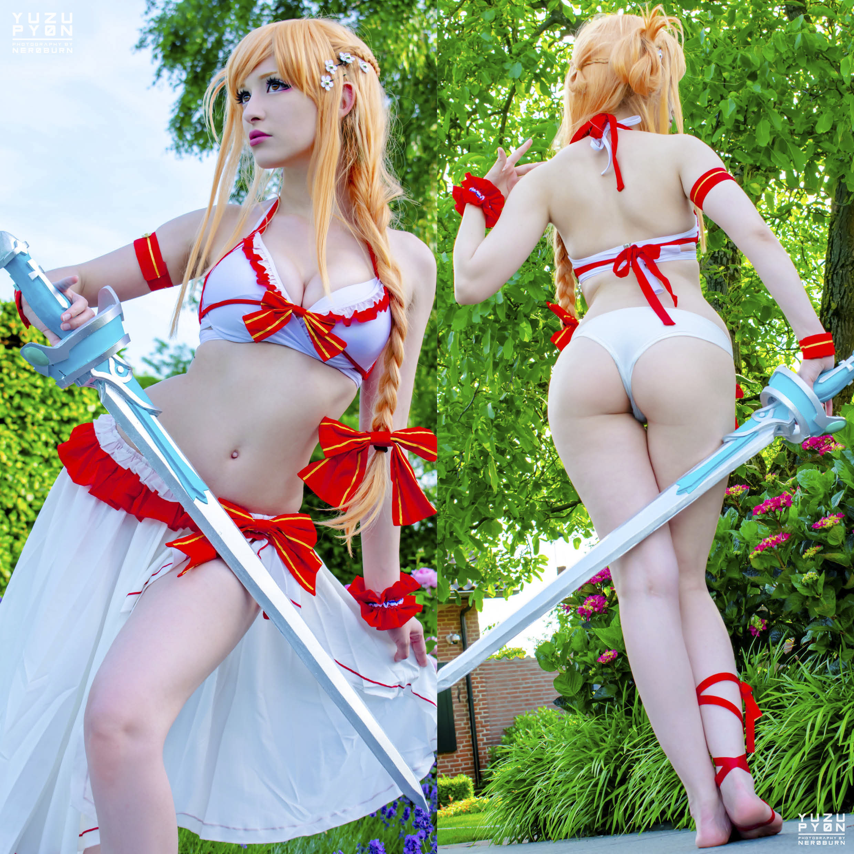 Asuna Cosplay By YuzuPyon – Official Summer Version – Self Handmade Sword ♥
