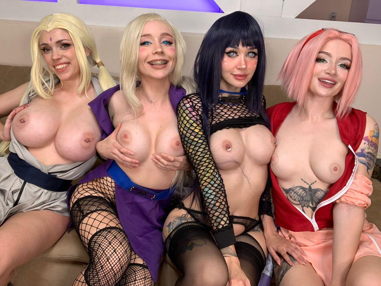 Tsunade, Ino, Hinata And Sakura From Naruto By Octokuro, Alice Bong, Purple Bitch And Leah Meow