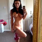 Fit Brunette With Pierced Boobs Takes A Hot Selfie