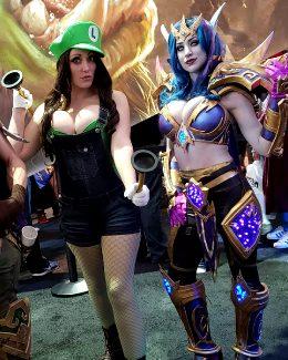 Alina Masquerade As Luigi And Azura Cosplay As A Void Elf