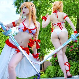 Asuna Cosplay By YuzuPyon – Official Summer Version – Self Handmade Sword ♥