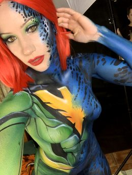 Body Painted Boobies! As Mystique Turning Into Phoenix